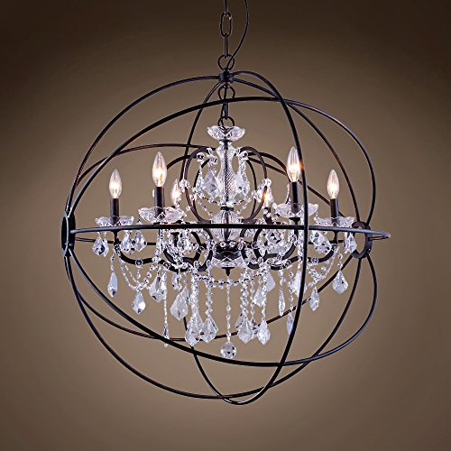 "Joshua Marshal 701507-007 - Foucault'S Orb Design 6 Lt 32"" Deep Iron Pendant With Clear Swarovski Crystal"