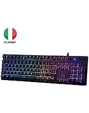 EZONTEQ Tastiera Gaming PC, Tastiera Italiana Giochi RGB LED Retroilluminazione USB, Tastiera Gaming per Computer MacBook Laptop Layout Italiano Keyboard