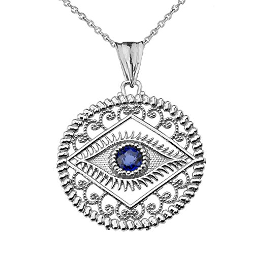 Exquisite Sterling Silver Evil Eye Filigree Charm Pendant Necklace with Blue Center Stone, 16