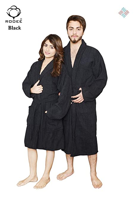 QAISIRIA Egyptian Cotton Bath Robes For Men and Women Unisex Terry  Towelling Cotton Dressing Gown Nightwear 5400f8211