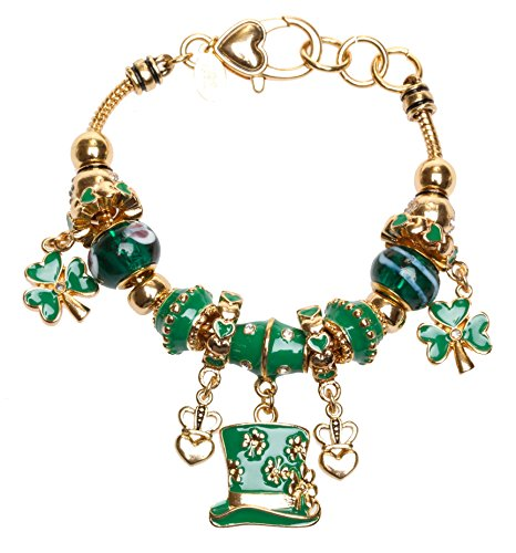 Kirks Folly Clover Magic Beaded Charm Bracelet Goldtone (Kirks Bracelet Folly)