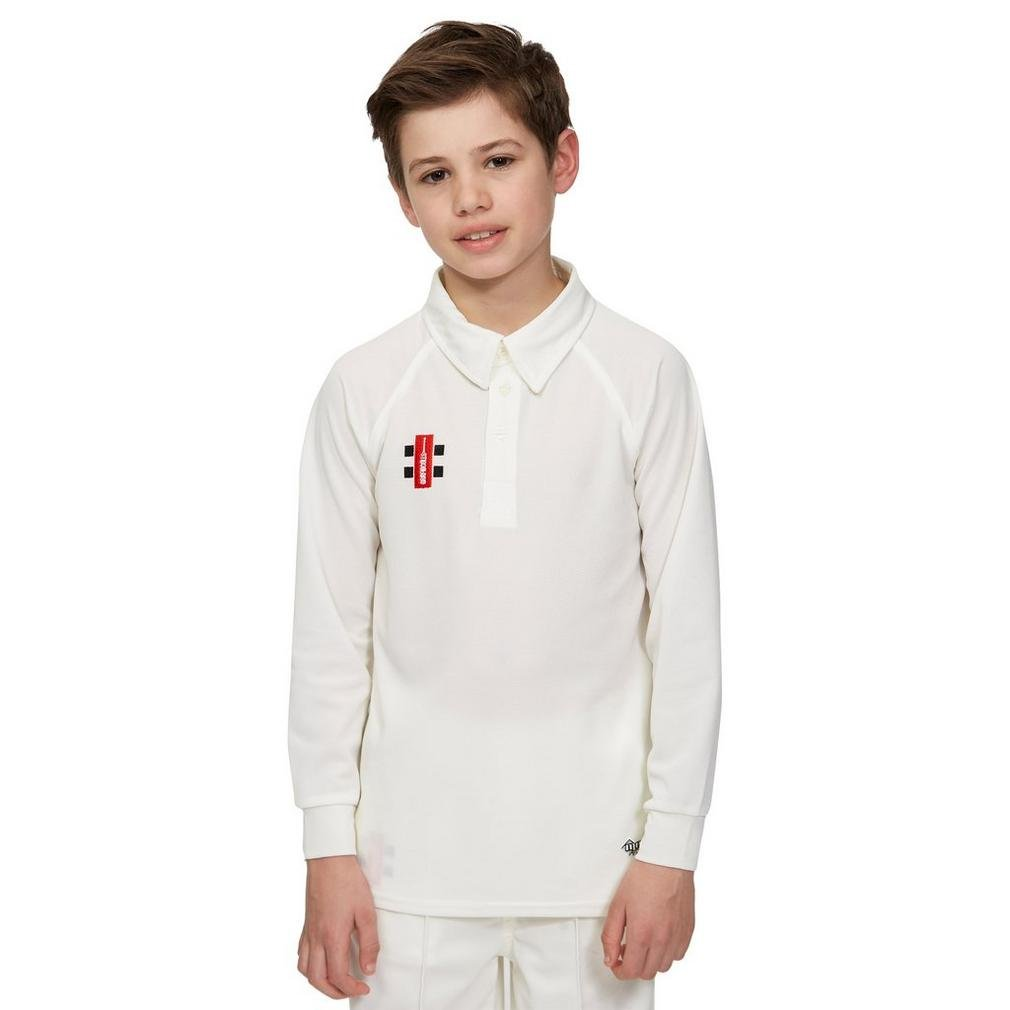 Grays Nicolls Matrix Long Sleeve Junior Cricket Shirt, White, 8 Years Gray-Nicolls