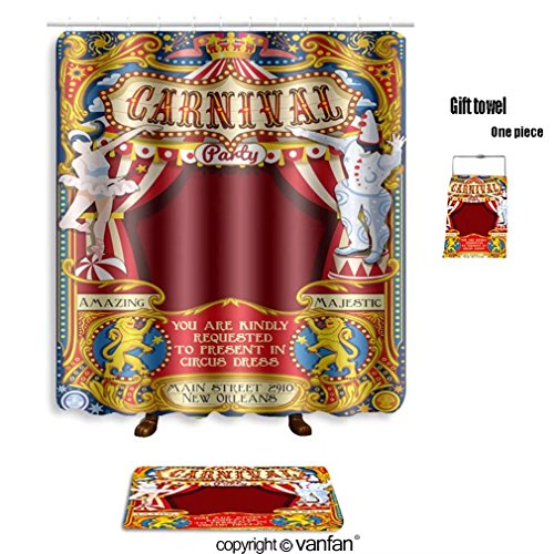 Good Vanfan Bath Sets With Polyester Rugs And Shower Curtain Circus Tent People Artist Fairground Show