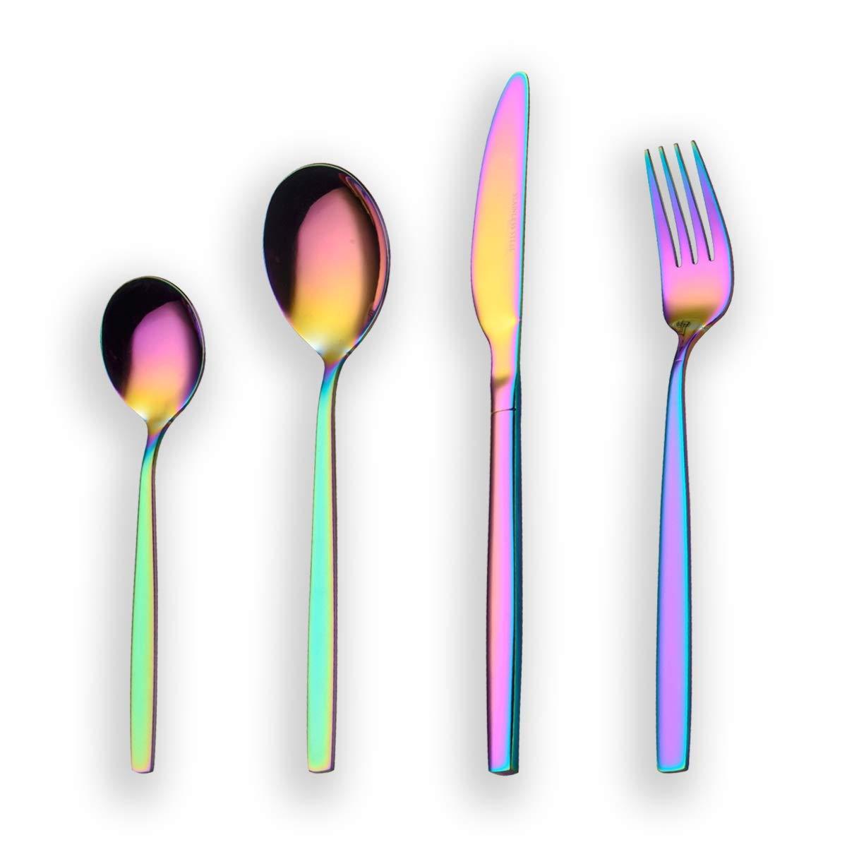Berglander 24 piezas de titanio color del arco iris cubiertos juego de cubiertos, 24 piezas de colores cubiertos juego, Mutil color cubiertos juegos de ...