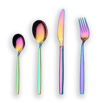 Berglander 24 piezas de titanio color del arco iris cubiertos juego de cubiertos, 24 piezas
