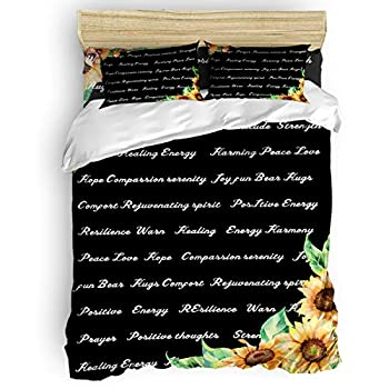 Image of Home and Kitchen All Like 4 Piece Bedding Set Duvet Cover Set- King Size Ultra Soft Microfiber Quilt Cover with Zipper Closure Sunflowers Warm Hugs (1 Comforter Cover + 1 Flat Sheet + 2 Pillowcases)- Black