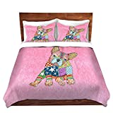 DiaNoche Designs Microfiber Duvet Covers Marley Ungaro French Bulldog Light Pink