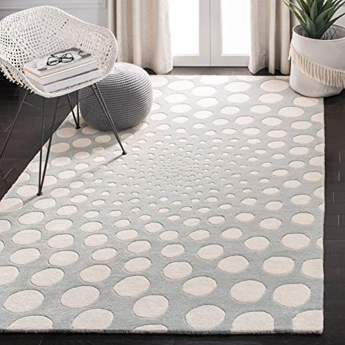 "Safavieh Soho Collection SOH766D Handmade Grey and Ivory Premium Wool Area Rug 8'3"" x 11'"