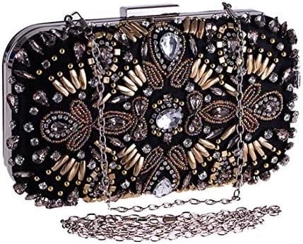 レディースビーズ入りハードシェルイブニングバッグドレスバッグスモールスクエアバッグクラッチバッグ(カラー:ブラック) 美しいファッション (Color : Black)