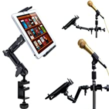 ChargerCity Heavy Duty 4-WAY Multi Adjust Aluminum Alloy Pole/Bar Clamp Mount for Music Mic Microphone Stand Podium Orchestra compatible w/all 7 7.7 8 8.9 9 10 11 12.2 inch Tablet Apple iPad Air Mini, Galaxy Tab Note Microsoft Surface Pro Lenovo Yoga