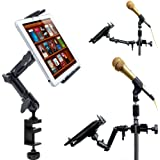 ChargerCity Heavy Duty 4-WAY Multi Adjustable Joint Aluminum Alloy Pole/Bar Clamp Mount for Music Mic Microphone Stand Podium Orchestra with Universal Spring Loaded Tablet holder compatible w/all 7 7.7 8 8.9 9 10 11 12.2 inch Tablet Apple iPad Air Pro Mini Samsung Galaxy Tab Note Pro LG G Pad Microsoft Surface Google Nexus Lenovo Yoga Ideapad ThinkPad Asus Vivotab Memopad Dell Venue (Holder is also 1/4-20 Tripod Compatible) *Include ChargerCity® direct replacement warranty*