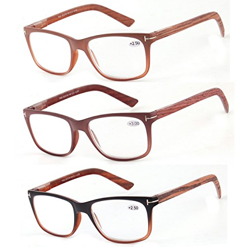 Reading Glasses 3 Pack Great Value Quality Readers Fashion Wood-Look Men and Women Unisex Glasses for Reading +1