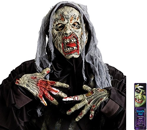 Bundle: 3 Items - Dr. Zombie Mask and Zombie Gloves and Free Pack of Makeup]()