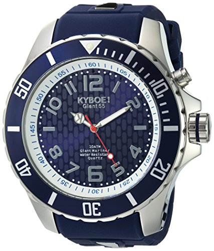 KYBOE! 'Power' Quartz Stainless Steel and Silicone Casual Watch, Color:Blue (Model: KY.55-031.15)