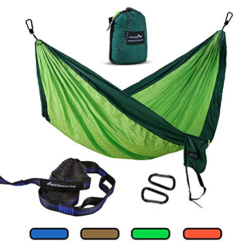 Geezo Camping Hammock, Lightweight Portable Single&Double Hammocks Parachute for Backpacking, Camping, Travel, Beach, Garden (Dark Green/Fruit Green)