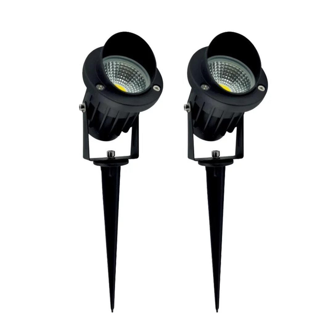 Prodeli Super Bright Outdoor LED Decorative Spotlight Lighting 7W COB LED Landscape Garden Wall Yard Path Lawn Light Spiked Stand AC/DC 12V Power (Pack of 2, Warm White)