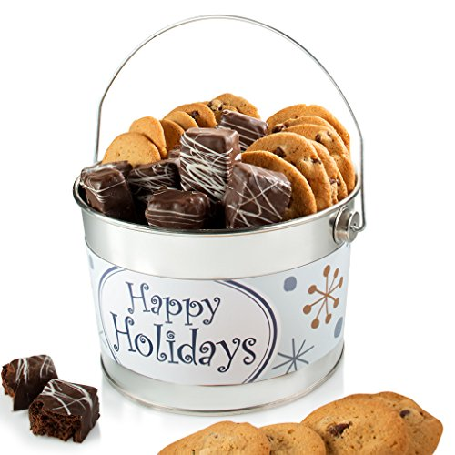 Happy Holidays Gift Bucket filled with Thin & Crispy Chocolate Chip Cookies And Chocolate Covered Brownie Bites
