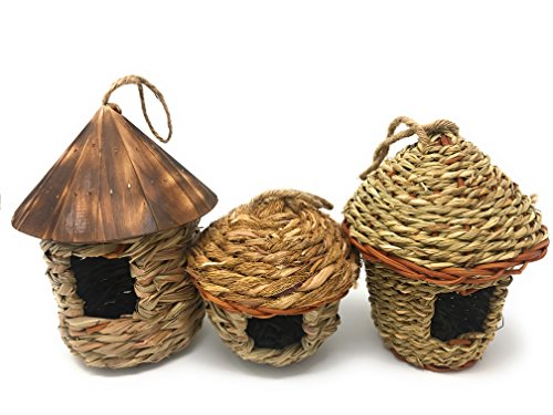 Lantern Hill Small Bird Roosting Pocket/Birdhouse, Handwoven Grasses, Set of Three