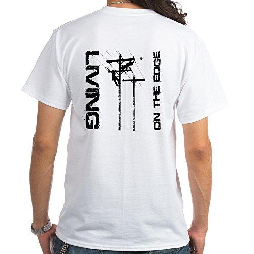 CafePress Lineman Living on The Edge White T-Shirt 100% Cotton T-Shirt, - Lineman Shirts