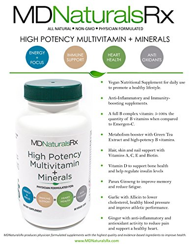 High potency Multivitamin + Mineral Veggie Caps- Physician Formulated Daily Suppement. All Natural. NON GMO.