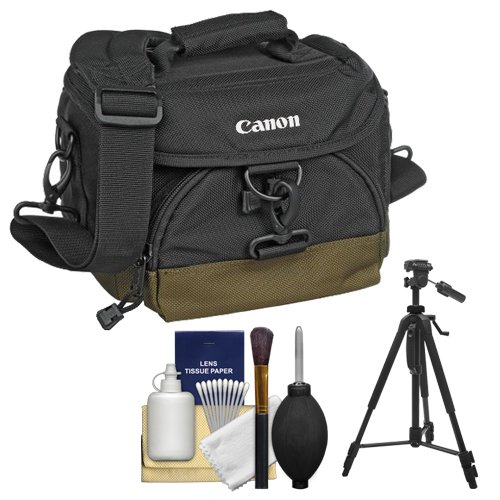 Canon 100EG Digital SLR Camera Case Gadget Bag + Tripod + Kit for EOS 6D, 7D, 77D, 80D, 5DS R, 5D Mark II III IV, Rebel T6, T6i, T6s, T7i, SL1, SL2