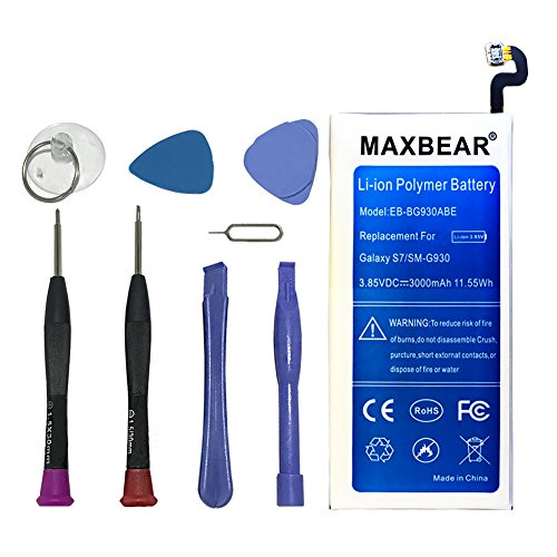 Galaxy S7 Battery,MAXBEAR [3000mAh] Lithium Ion Polymern Built-in Battery EB-BG930ABE Replacement for Samsung Galaxy S7 SM-G930 G930V G930A G930T G930P G930F with Open Tool.[12 Month Warranty]