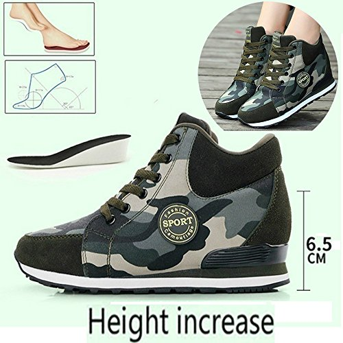 Pour chaussures Camouflage femme armée Vert hauts des Hauteur augmenter talons Chaussures à rwqIrx