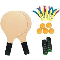 Plage Tennis Et Le Badminton Raquette Pagayer Ensemble avec 5 Balles De Pingpong 5 Volants de Plumes - Jardin Parc éTé De Plein Air Amusement des Sports Jeux - Jeu 2en1 en Bois De Cricket