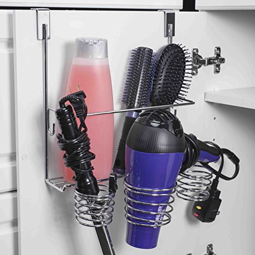 Home Basics Chro Steel Over Door Bathroom Care & Hot Styling Tool Organizer Storage Basket Dryer, Flat Irons, Curling Wands, Hair Straighteners in Chrome