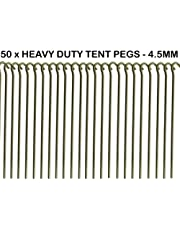 50 x Heavy Duty 9 Tent PEGS - 23CM x 4.5MM - Made from GALVANISED Steel - Curved Hook ON TOP - Great for SECURING Tents/AWNINGS/Goal NETS/Pond Netting by We Search You Save