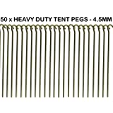 """50 x HEAVY DUTY 9"""" TENT PEGS - 23CM x 4.5MM - MADE FROM GALVANISED STEEL - CURVED HOOK ON TOP - GREAT FOR SECURING TENTS / AWNINGS / GOAL NETS / POND NETTING"""