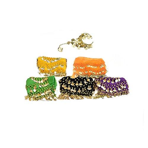 Bellylady Gold Coins Belly Dance Hip Scarf, Wholesale Dance Belt & Gypsy Bracelet-ASSORT5PCS