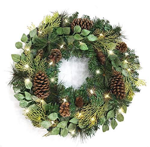 Warren&Winsley Sale Prelit Cordless LED Lifelike Winter Evergreen Wreath (24