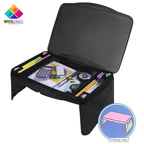 Folding Black Lap Desk, laptop stand, Workstation, Laptop lap desk, kids desk, college student desk - The lapdesk Contains Extra Storage space with dividers under the top cover, And folds very easy - Bedroom Set Pedestal