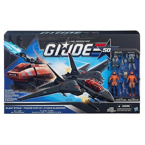 G.I. Joe 50th Anniversary Silent Strike Set with Black Skystriker Jet, Orange H.I.S.S. (HISS) Tank & 4 Action - Crimson Skies Planes