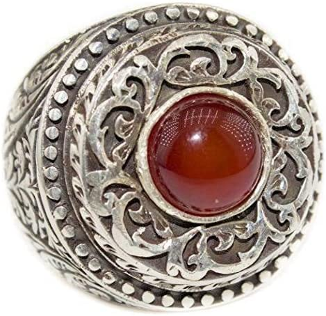 Agate Natural Gemstone Falcon Jewerlry Sterling Silver Men Ring