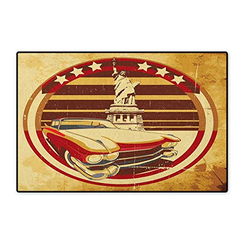 Vintage Car,Door Mats for Floors,Vintage Car Image American Symbolism Statue of Liberty on Old Paper Print,Mat for Tub Doorroom,Yellow Red Brown,Size,24