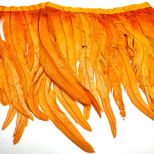 Natural Rooster Tail Feathers Fringe Trim (Orange)