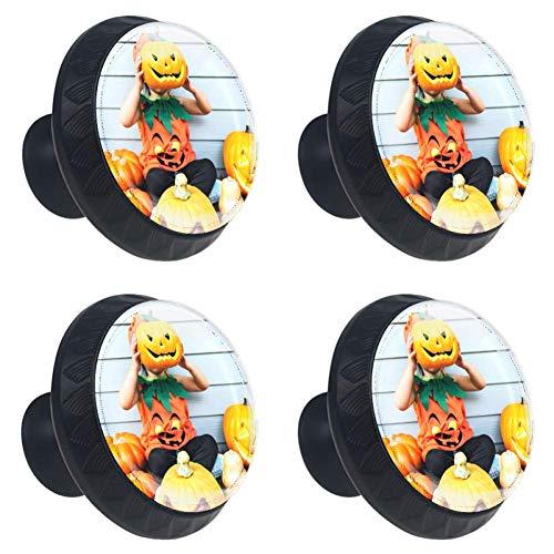 Halloween Pumpkin Cabinet Knobs Crystal Convex Lens with 3D Figure Display for Drawer Closet Pull Handle Elegant Knobs to Decorate Kidsroom Livingroom Kitchen Bathroom Cabinet Closet Pack of 4 ()