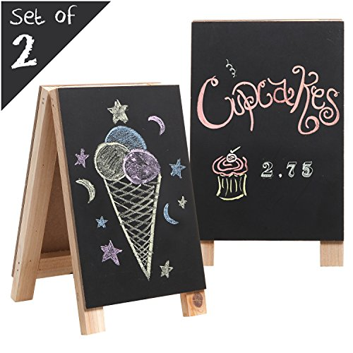 MyGift Tabletop Mini Wooden Easel Chalkboard Sign, Erasable Double-Sided Message Memo -