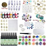 240ml UV Epoxy Resin Crystal Clear Jewelry Making Kit 16 Silicone Molds (12 Constellations Pendants) 17 Open Back Bezels 13 Liquid Color Pigment 36 Decorations + Compact UV Curing Lamp & Tweezers