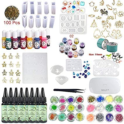 240ml UV Epoxy Resin Crystal Clear Jewelry Making Kit 16 Silicone Molds (12  Constellations Pendants) 17 Open Back Bezels 13 Liquid Color Pigment 36