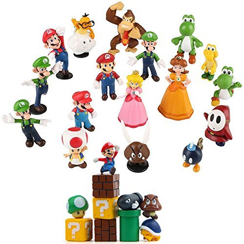Fam Le Fun 28 pcs Super Mario Brothers Figures Set Cake Toppers 1-2 inch PVC Toys