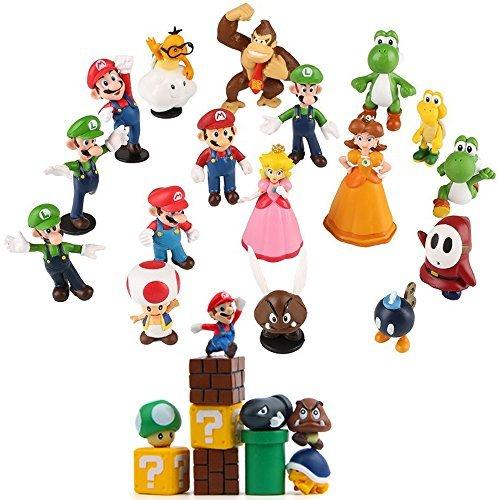 Fam Le Fun 28 pcs Super Mario Brothers Figures Set Cake Toppers 1-2 inch PVC (Princess Cupcake Boxes)