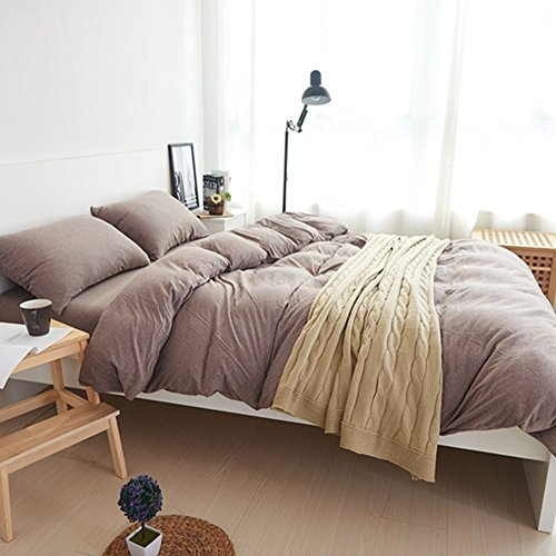 DOUH Jersey Knit Cotton 3 Pieces Duvet Cover Set Queen Size Ultra Soft Solid Duvet Cover and Pillow Shams Comfy Coffee Bedding Set for Kids Adults by DOUH (Image #2)