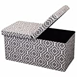 Otto & Ben 30'' Storage Ottoman - Folding Toy Box Chest with Smart Lift Top, Mid Century Upholstered Ottomans Bench Foot Rest, Moroccan Grey