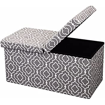 Otto And Ben 30 In SMART LIFT TOP Upholstered Ottoman Storage Bench U2013  Moroccan Grey