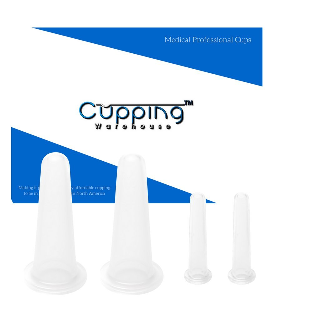 Cupping Warehouse Classic 4 Facial Professional and Home Spa Clear Silicone Massage Set: Written Instructions/Online Video's- Face/Eye/Lip/Brow cups-Natural Anti-Aging, Reduce Wrinkles, Rejuvenation