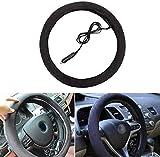 Poweka 12V Heated Steering Wheel Cover,Black Steering Wheel Heated Protector Cover for Warm Winter Universal Cars Vehicle