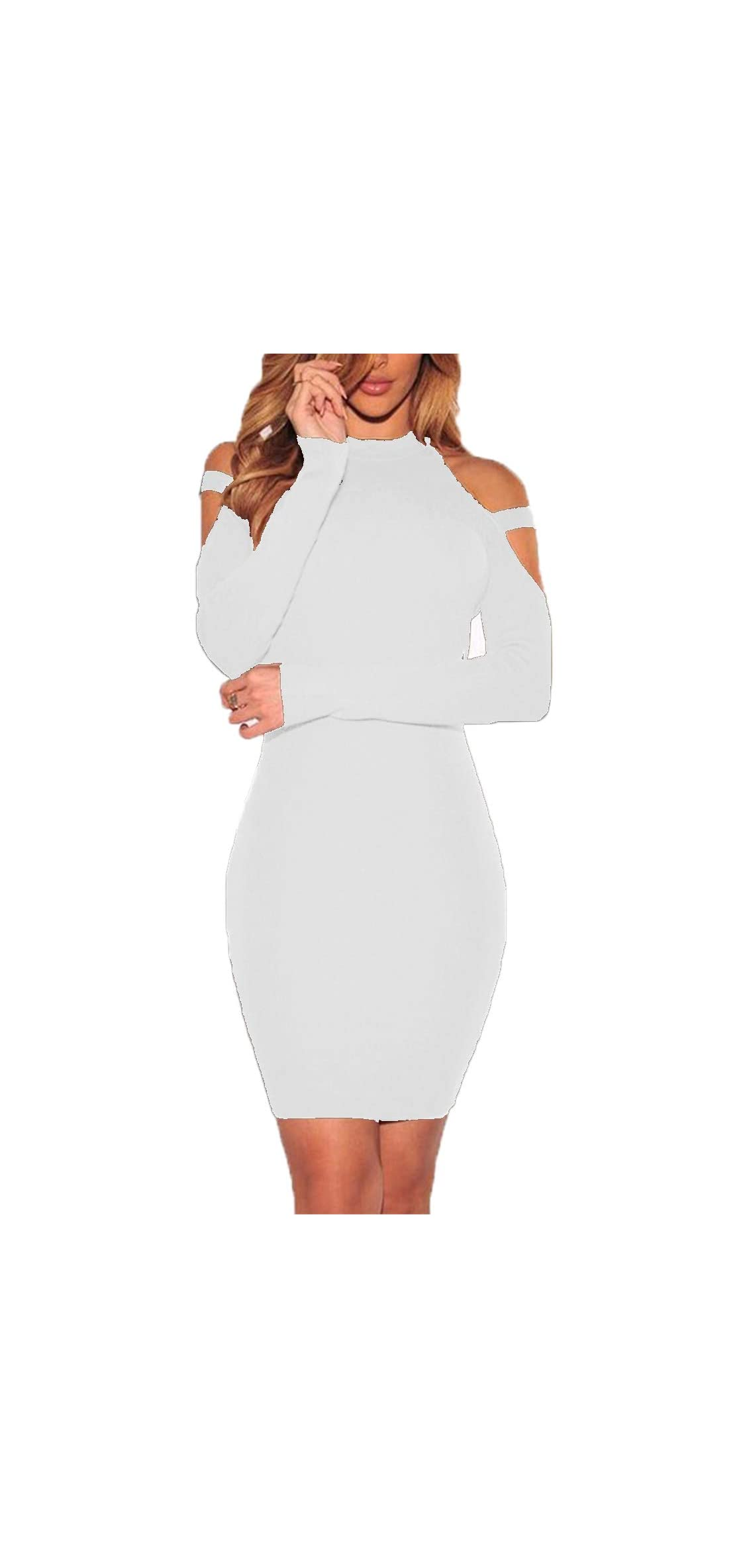 Women's Sexy Cold Shoulder Long Sleeve Dress Bandage Party
